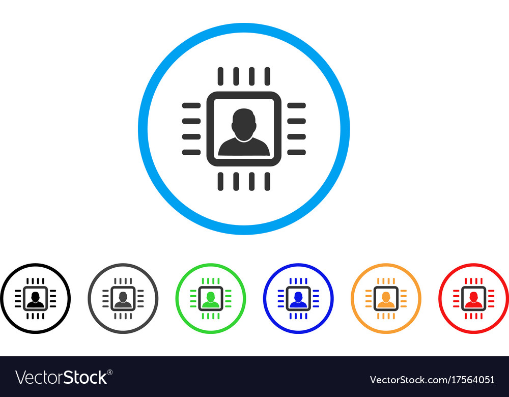 Neuro processor rounded icon vector image