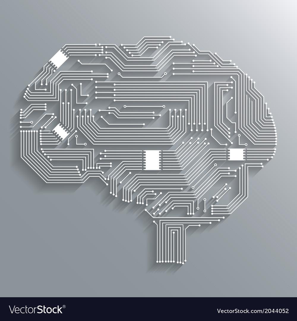 Circuit board brain vector image