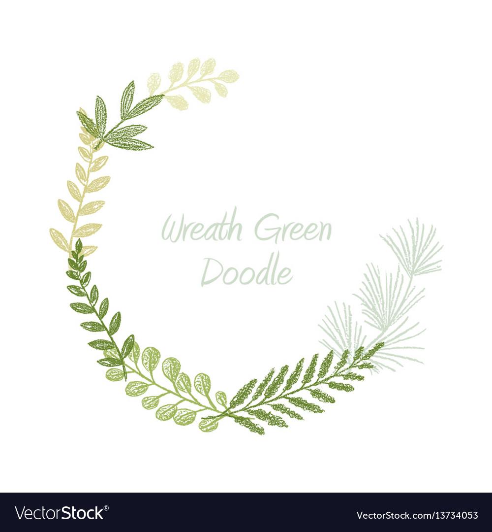 Greenery scribble hand drawn foliage border vector image