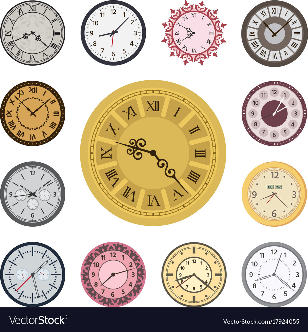 Colorful clock faces vintage modern parts index vector image