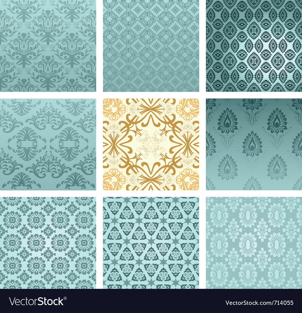 Retro wallpaper set vector image