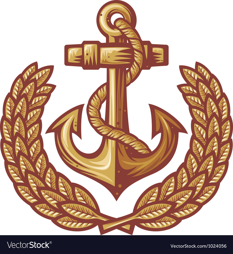 Anchor and laurel wreath vector image