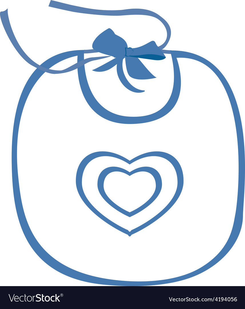 Baby bib blue with heart symbol vector image