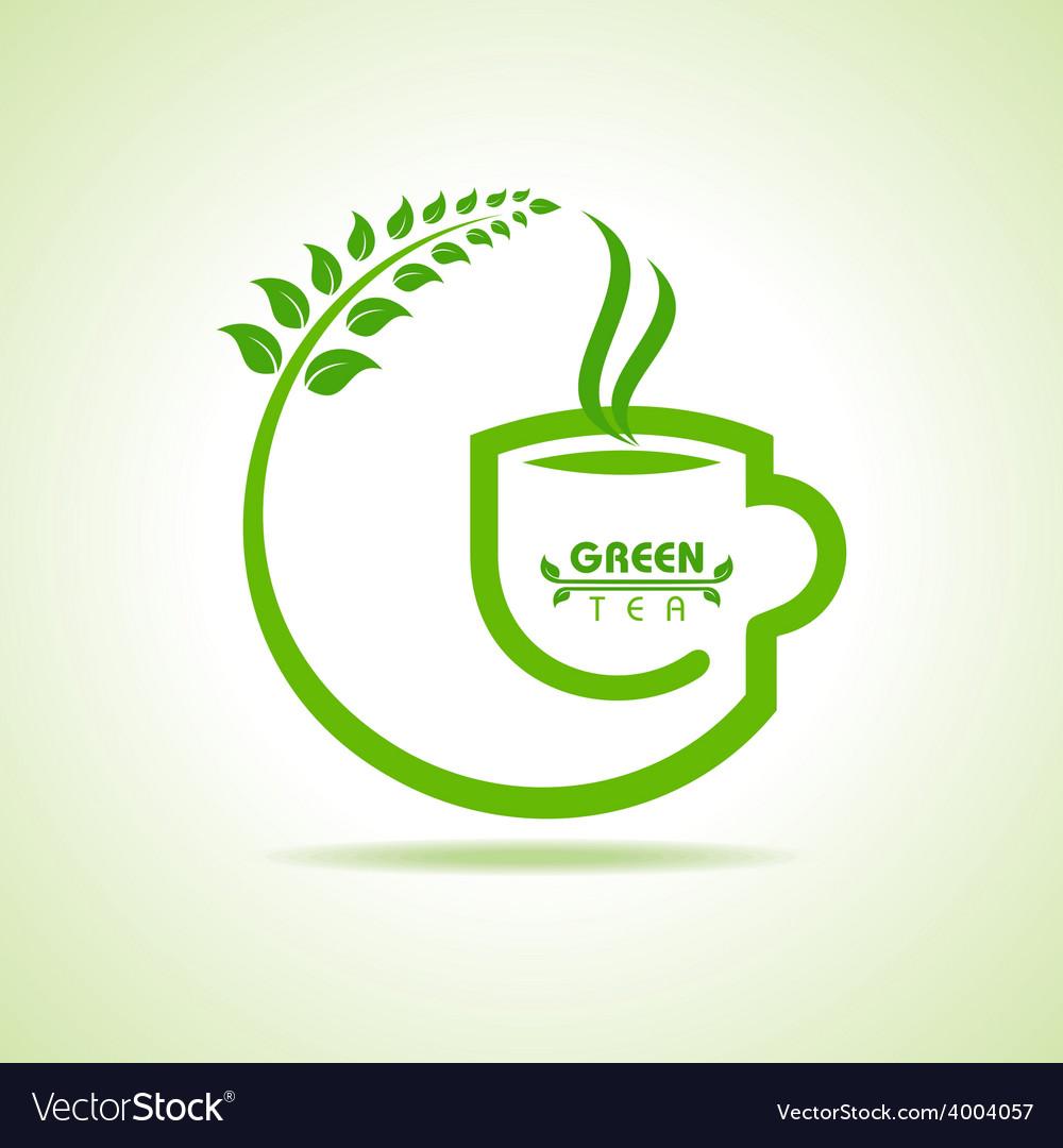 Green tea cup icon vector image