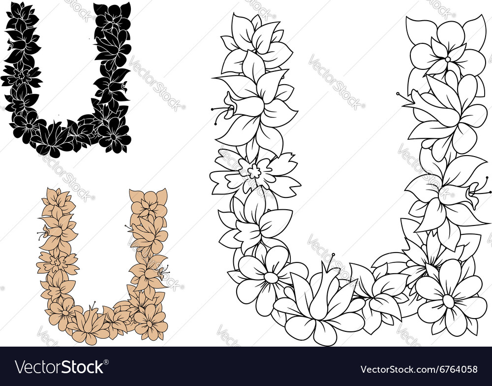 Decorative letter u with vintage floral pattern vector image