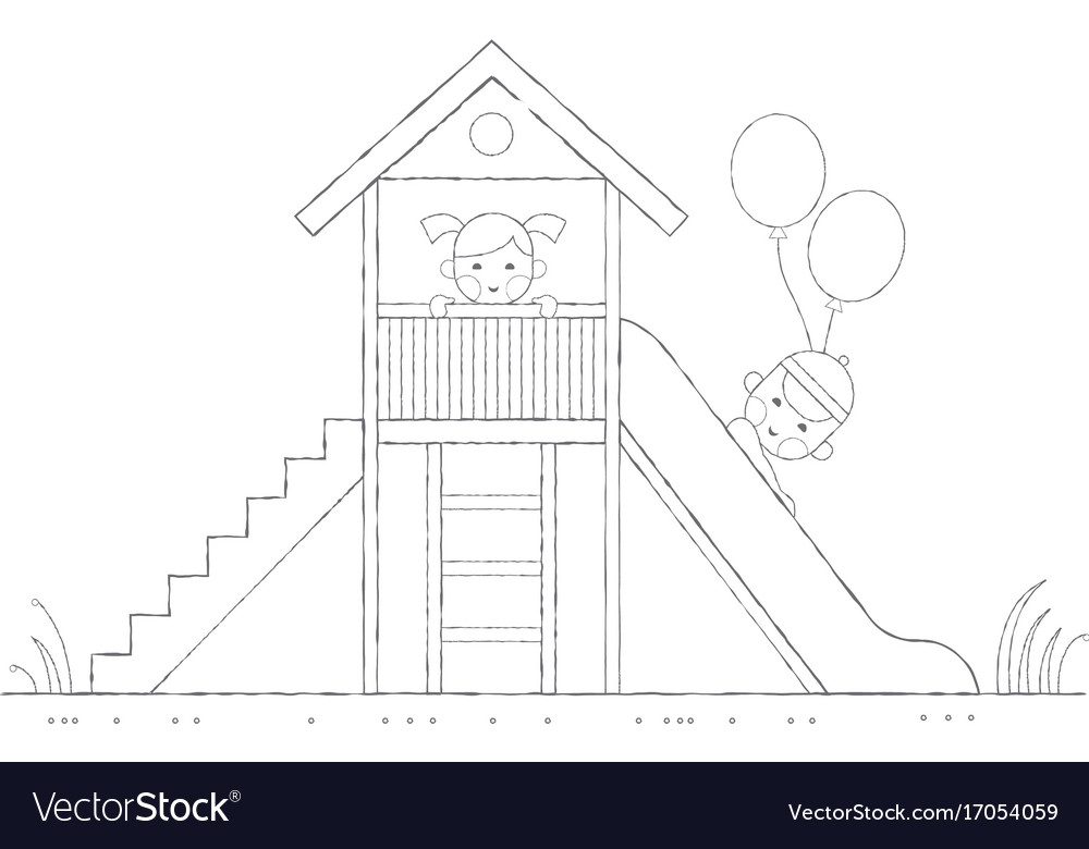 Children are played on a slide outline vector image