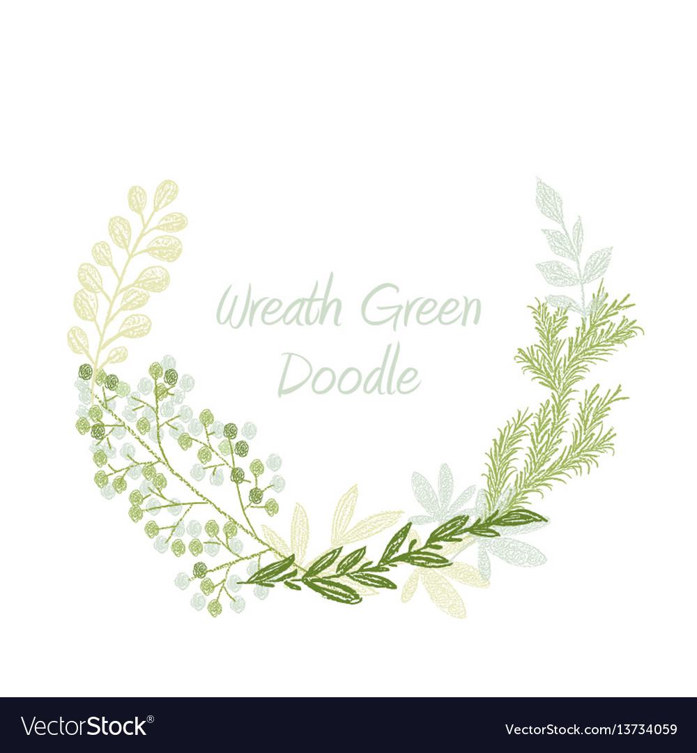 Green doodle hand drawn leaves and grass wreath vector image