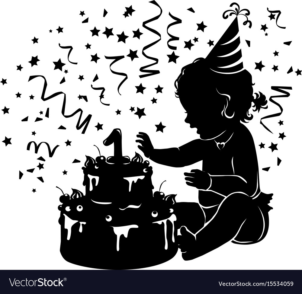 Silhouette baby girl with birthday cake with vector image
