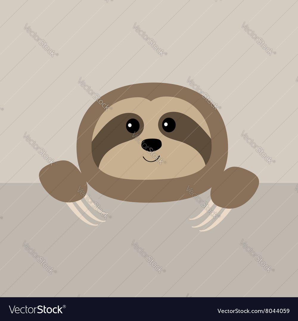 Sloth face and hands Cute cartoon character Wild vector image