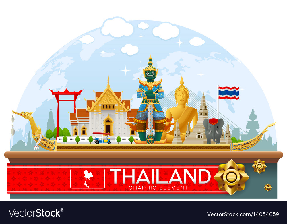 Thailand thailand landmark and art background vector image