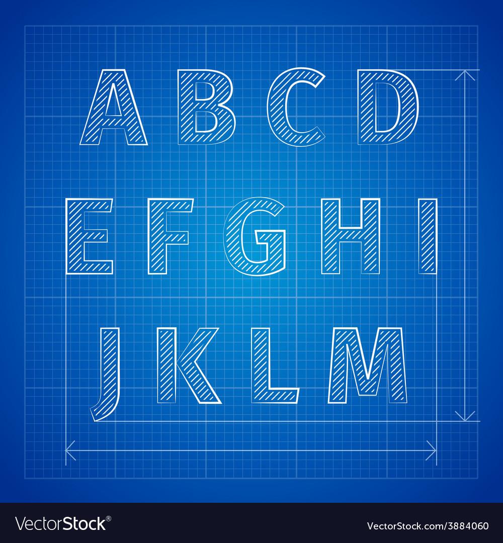 Blueprint font royalty free vector image vectorstock blueprint font vector image malvernweather Choice Image