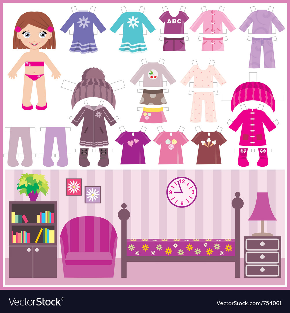 Paper doll with a set of clothes and a room Vector Image