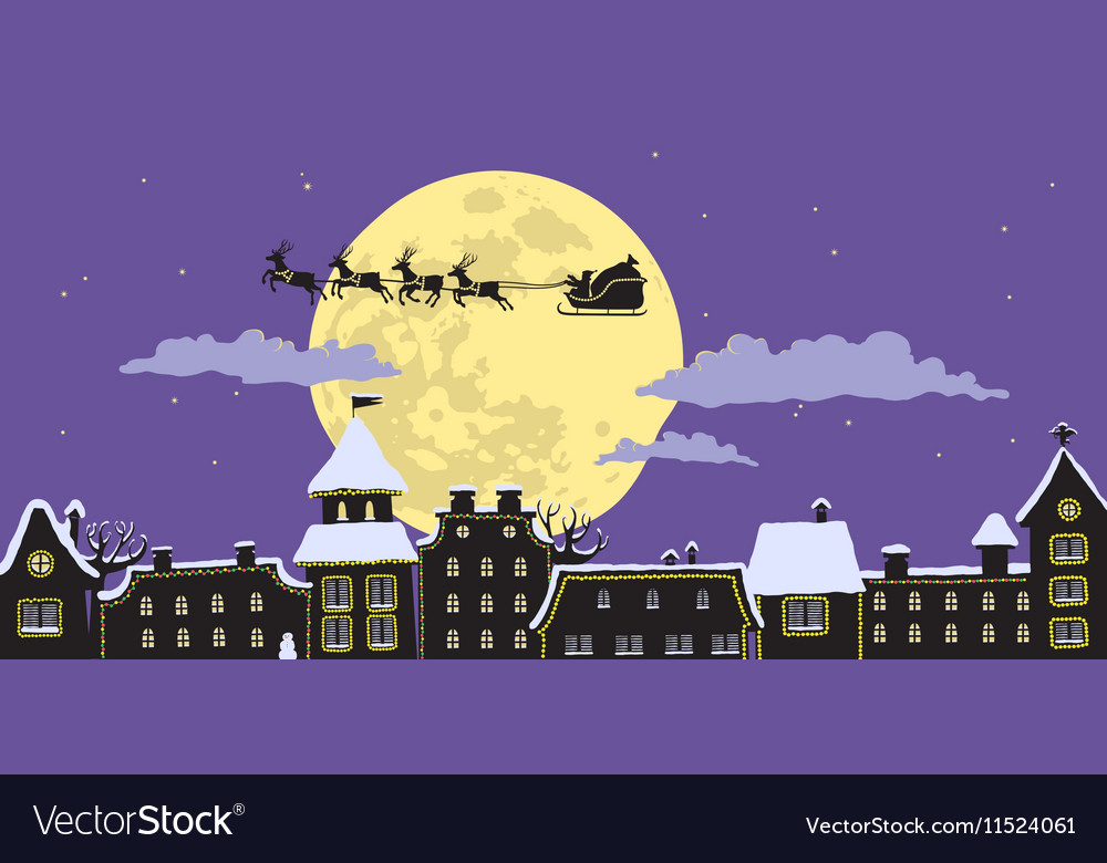 Night Santas Sleigh vector image