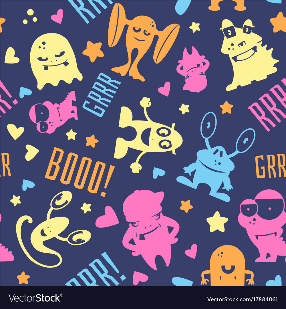 Seamless pattern with cute cartoon monsters vector image