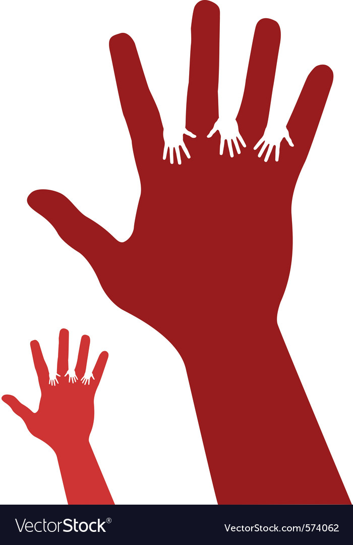 Assistance hand silhouette vector image