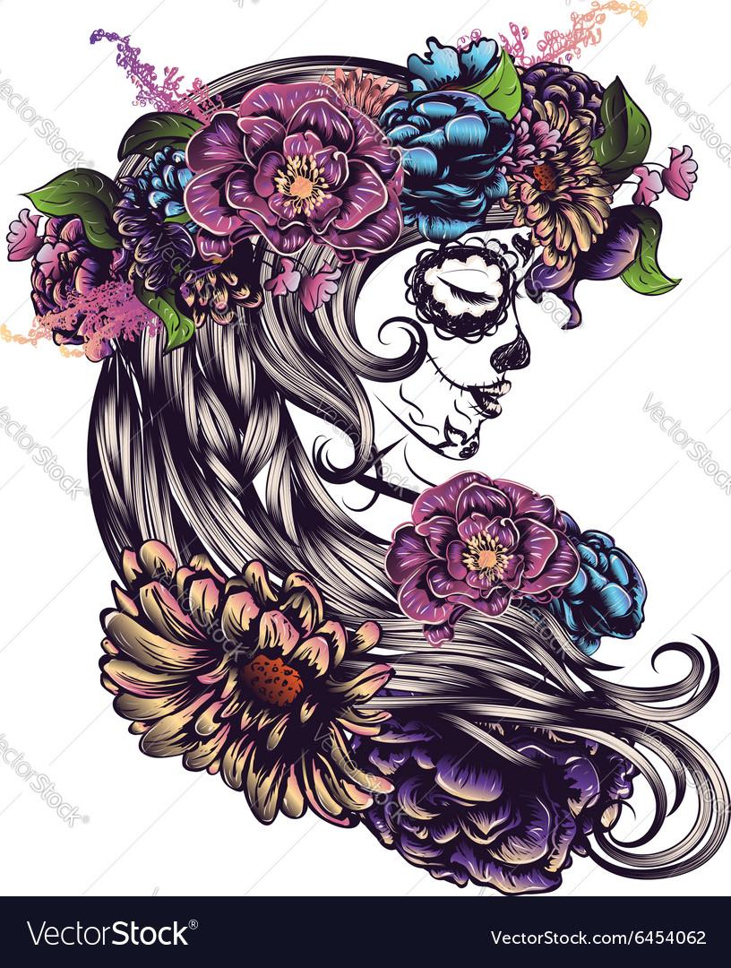 Sugar Skull Girl in Flower Crown3 vector image