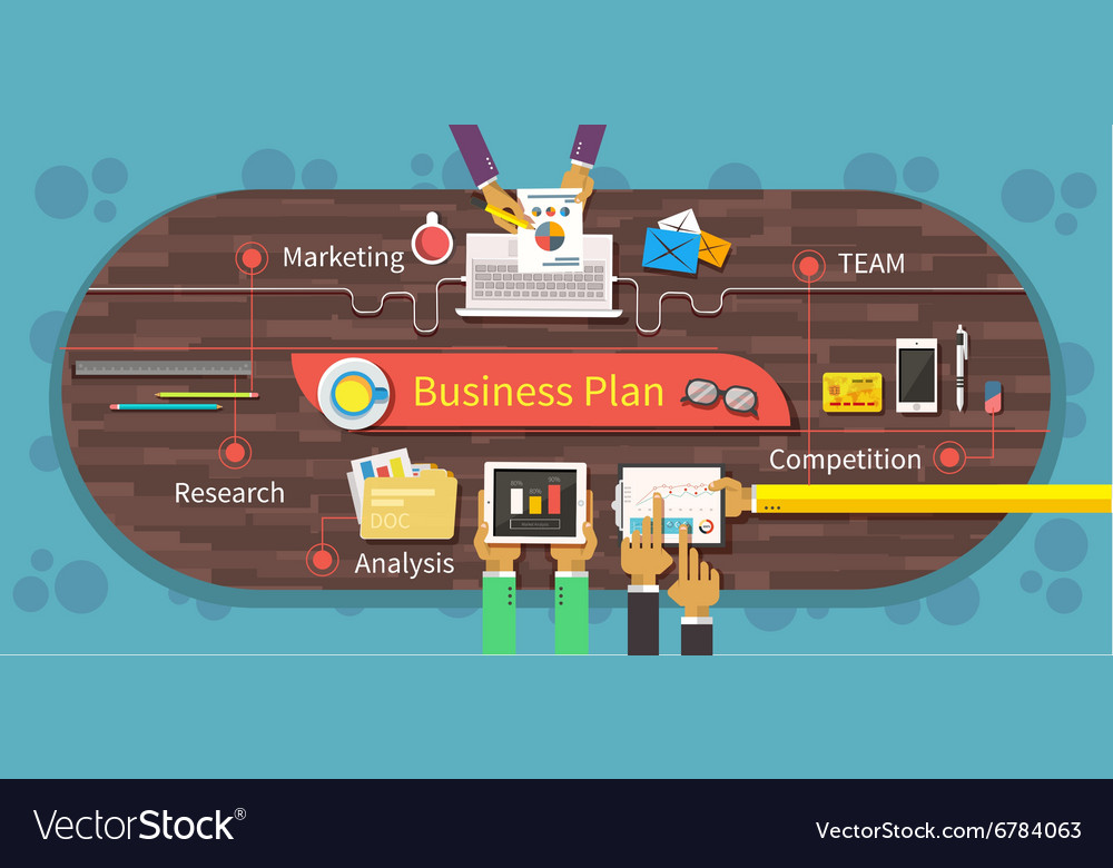 Business Plan Marketing Research Analysis vector image