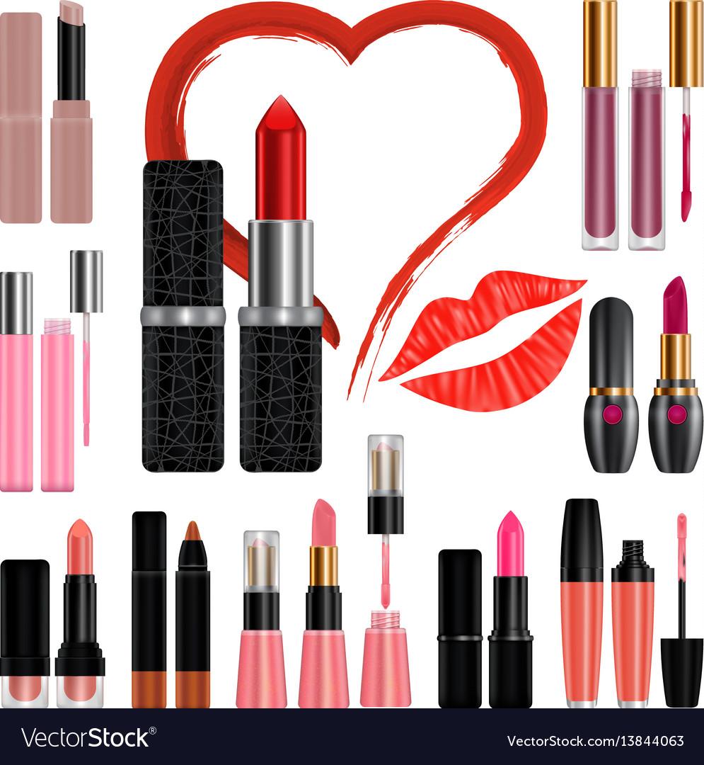 Lipstick mockup set kiss realistic style vector image