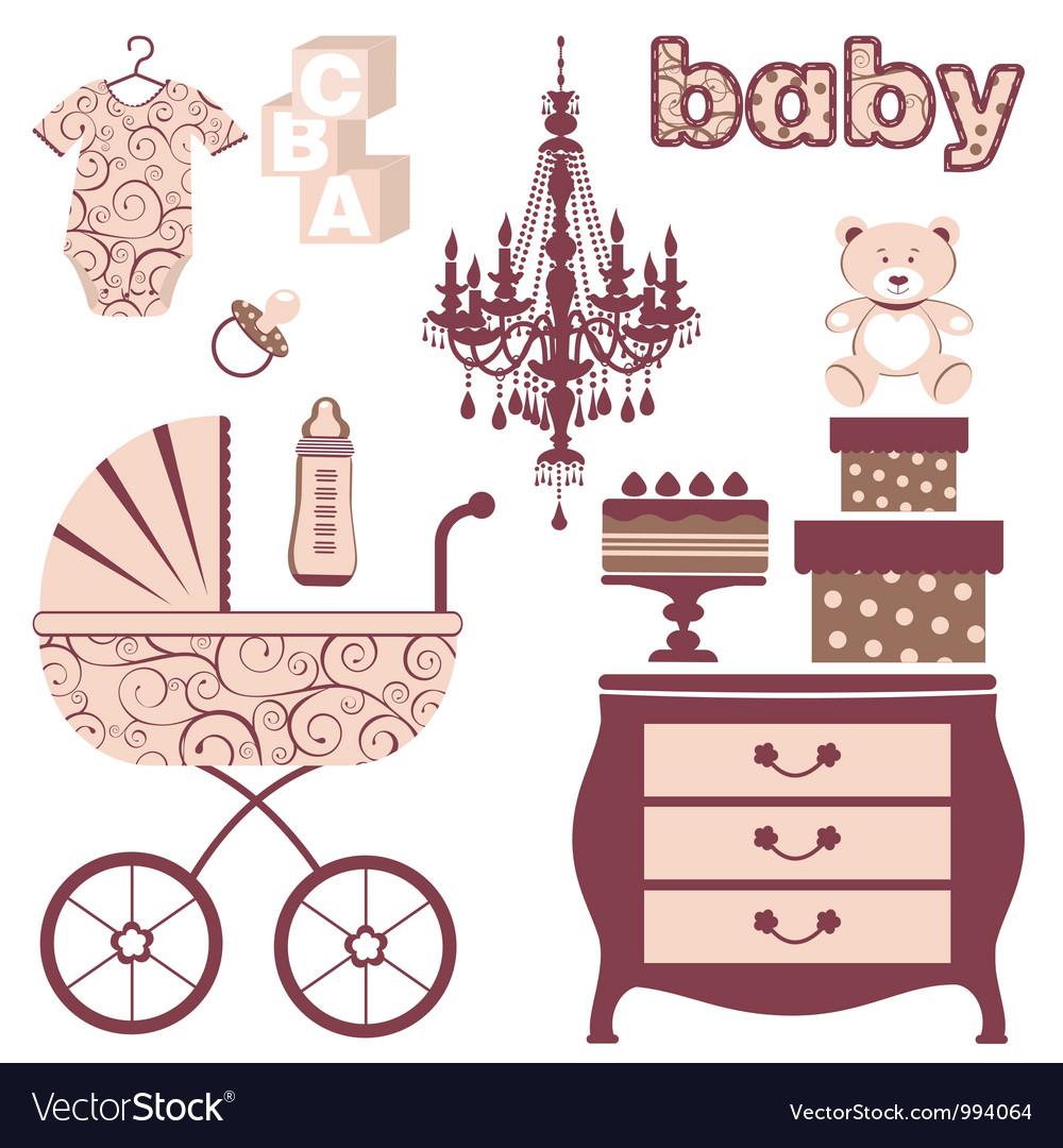Elegant baby shower vector image
