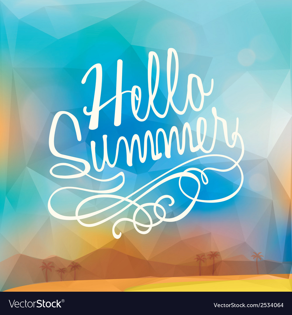 Abstract Summer holiday polygon poster background vector image