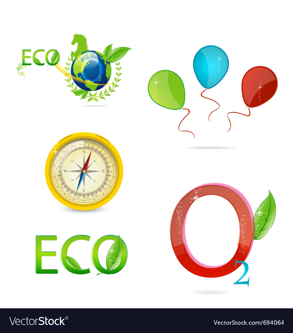 Green nature icons vector image