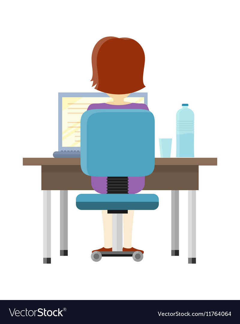 Man Working on the Computer vector image