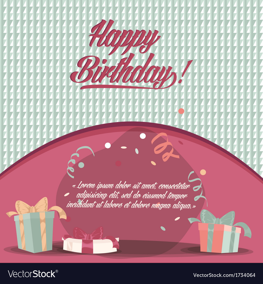 Retro vintage happy birthday card with gifts Vector Image – Vintage Happy Birthday Cards