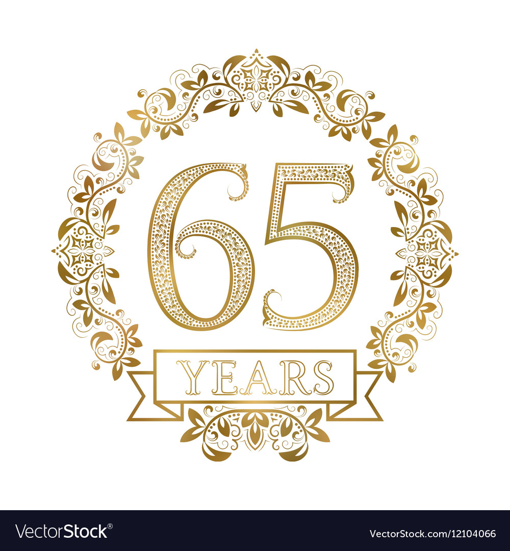 Golden emblem of sixty fifth years anniversary in vector image