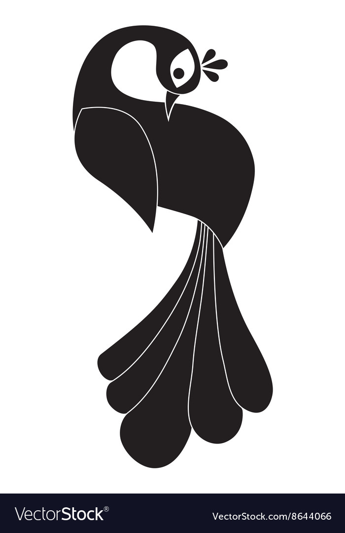 Peacock silhouette Isolated vector image