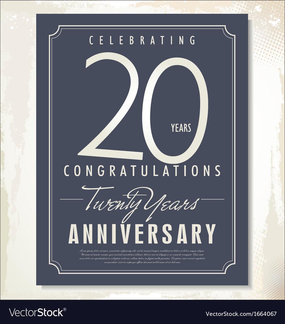 20 years anniversary background vector image
