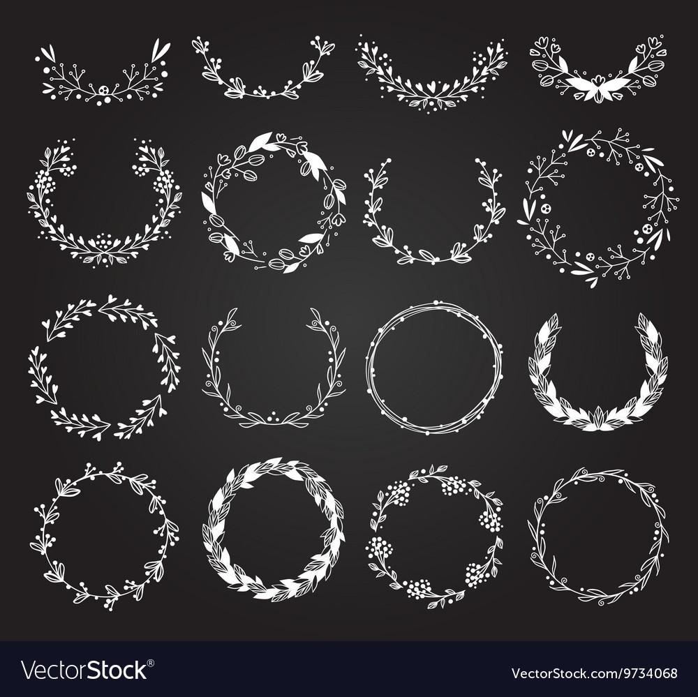 Wreath hand drawn set vector image