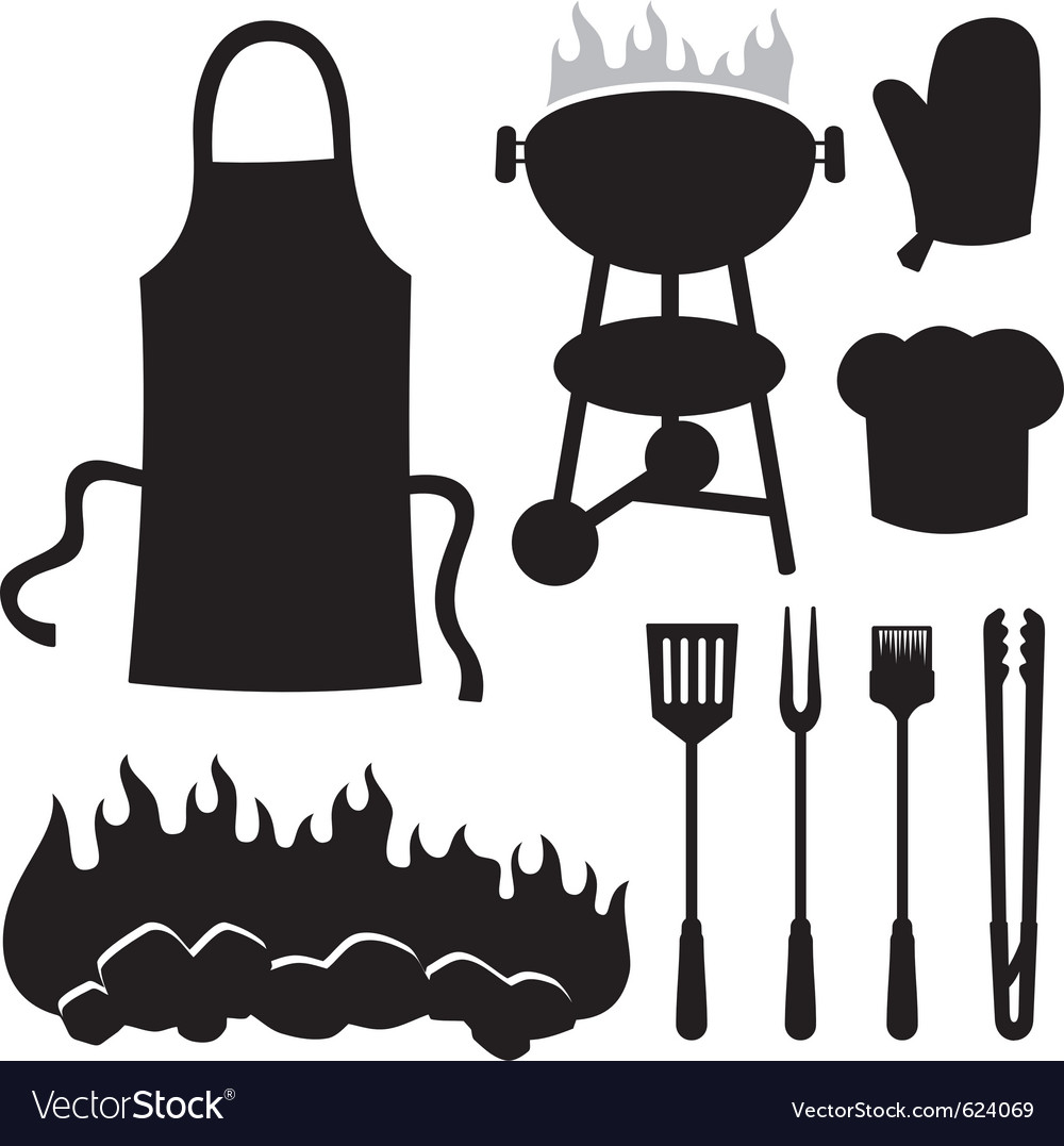 Barbecue silhouettes vector image