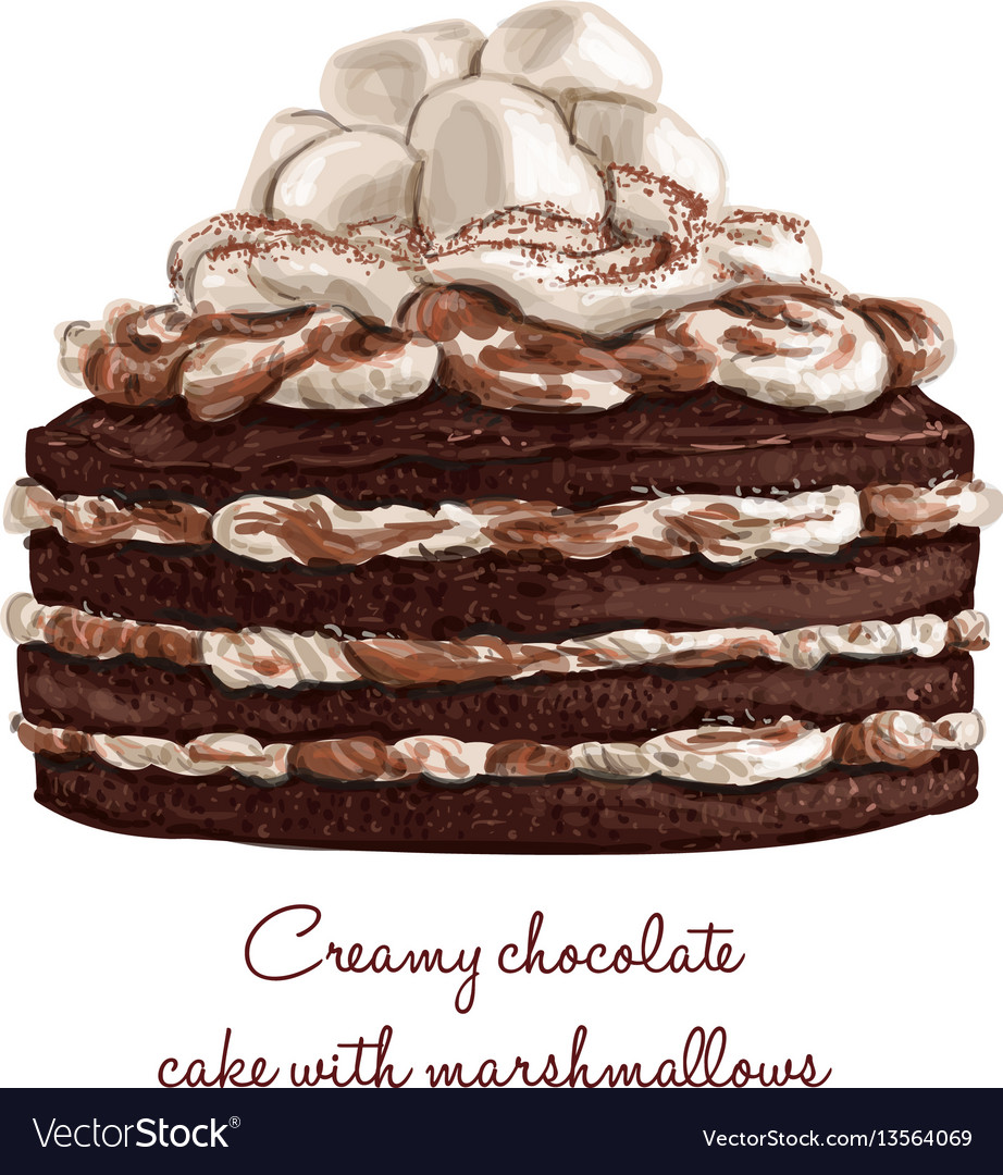 Creamy chocolate cake with marshmallows vector image
