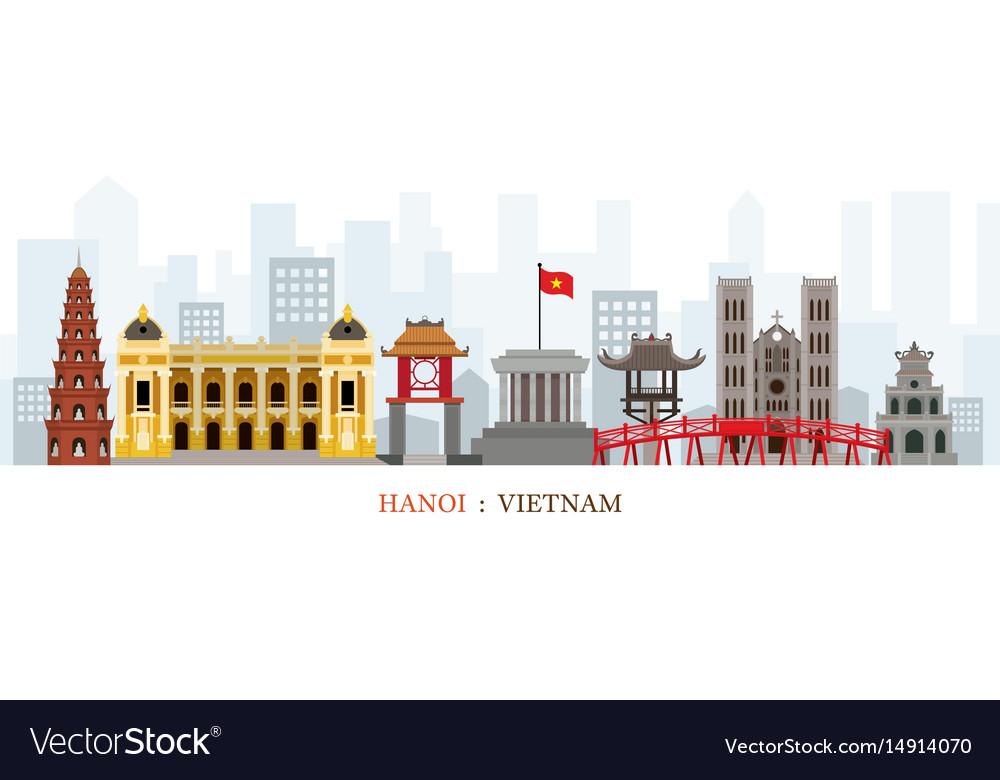 Hanoi vietnam landmarks skyline vector image