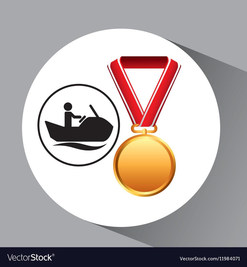 Jet ski medal sport extreme graphic vector image