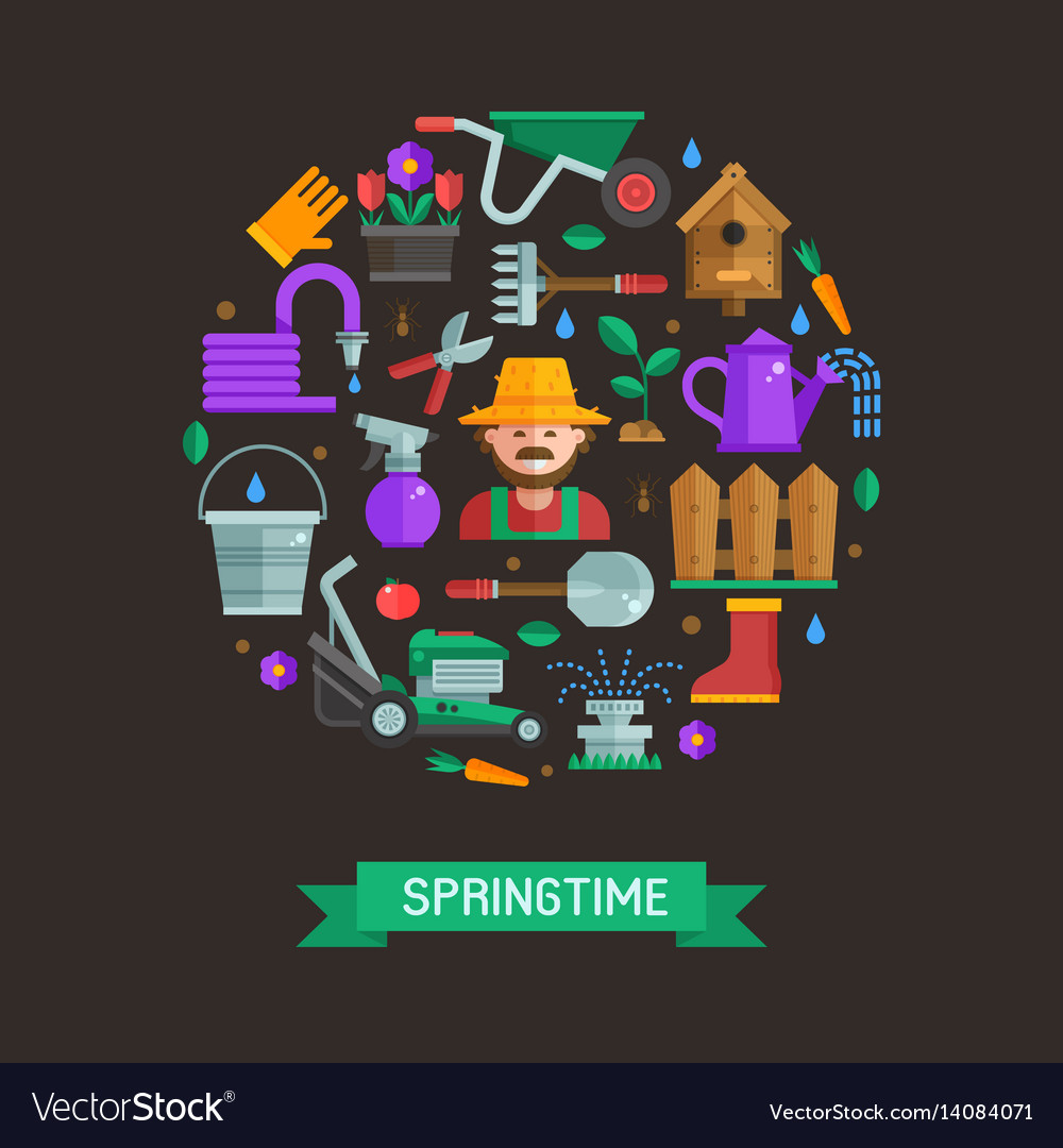 Spring card with gardening and landscaping icons vector image
