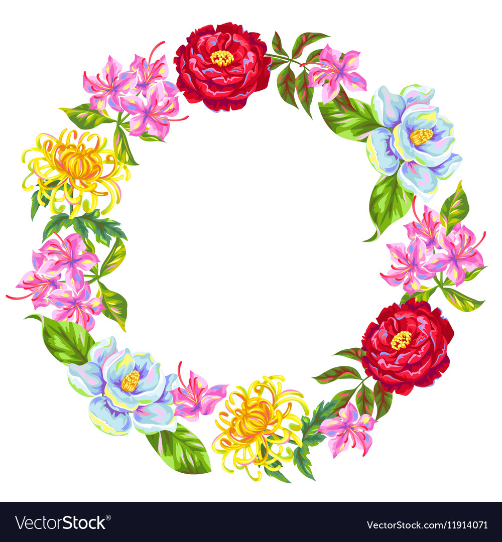 Wreath with China flowers Bright buds of magnolia vector image