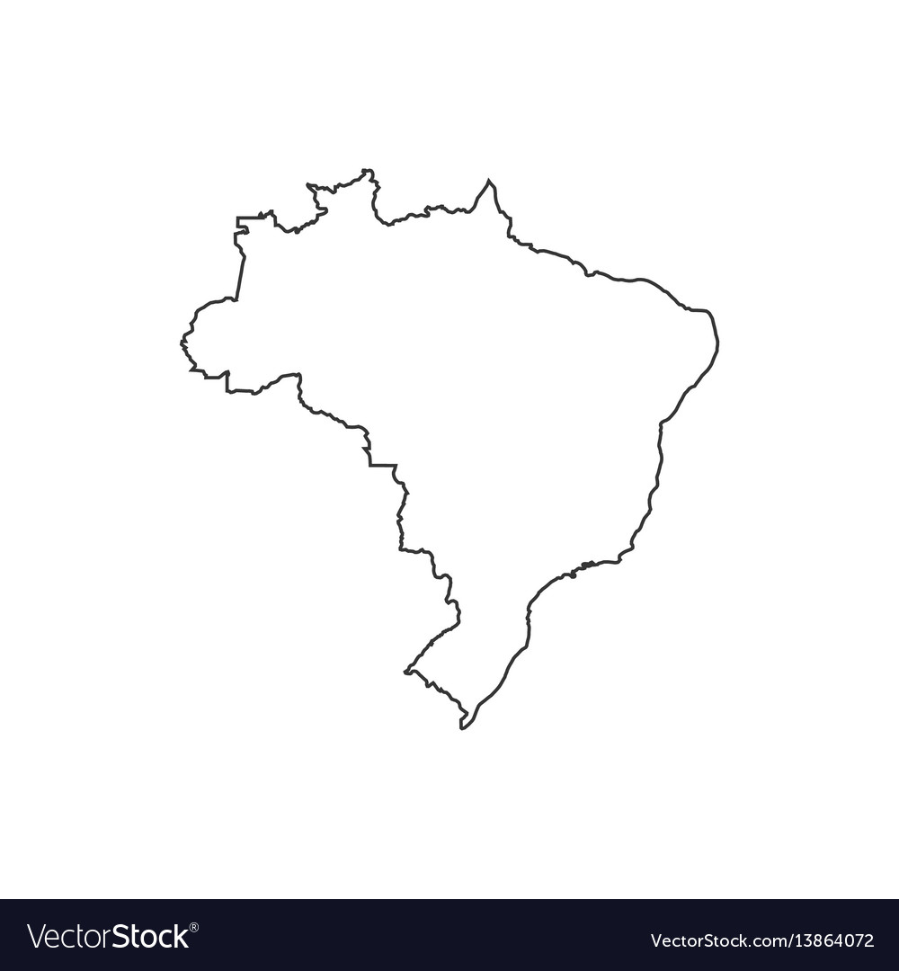 Federative Republic Of Brazil Map Silhouette Vector Image - Federative republic of brazil map