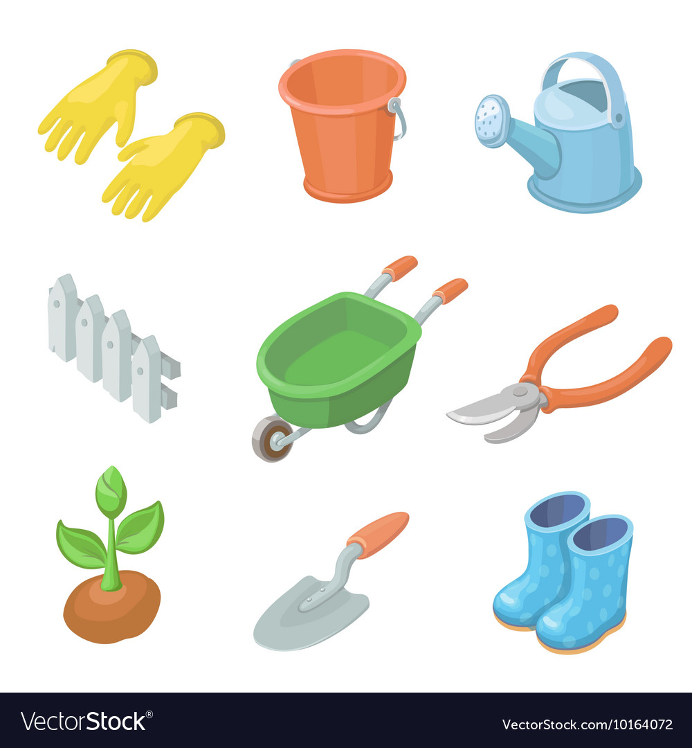 Gardening work tools icons set Nice equipment for vector image