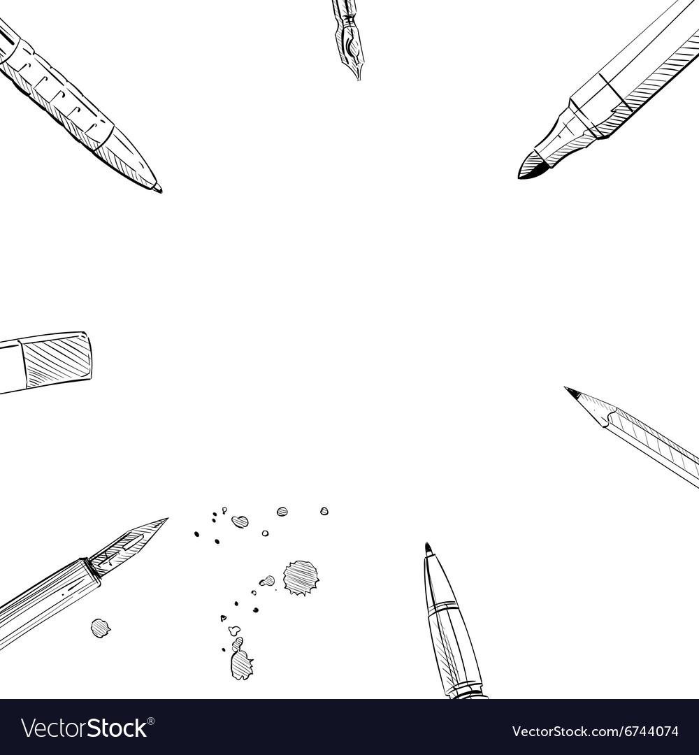 Frame pens backgrounds vector image