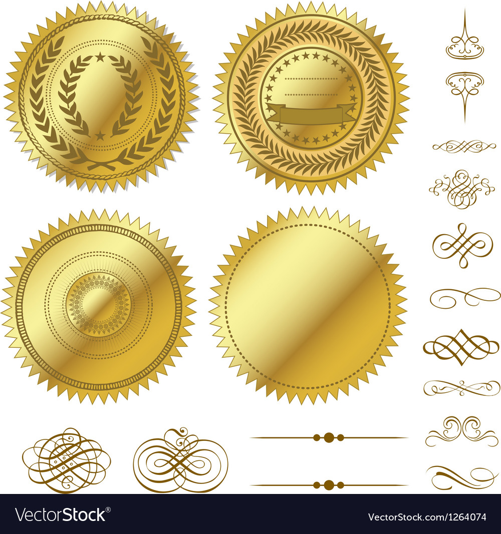 Gold seal set vector image