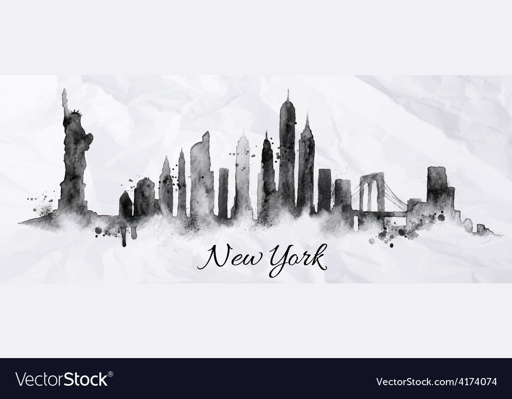 Silhouette ink New york vector image