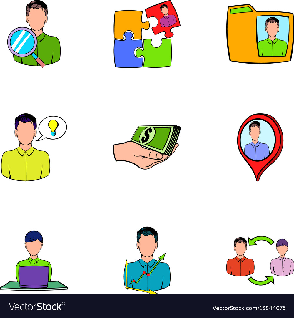 Business relationship icons set cartoon style vector image