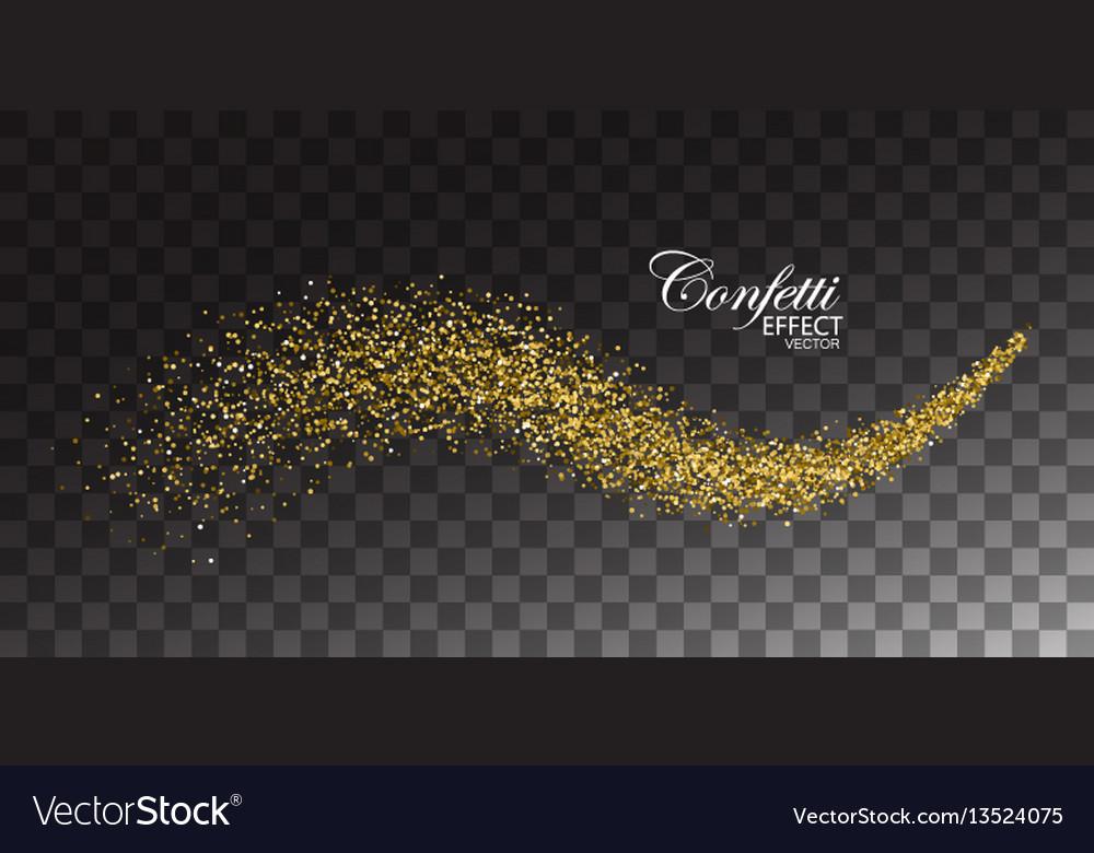 Glittering golden stream of sparkles vector image