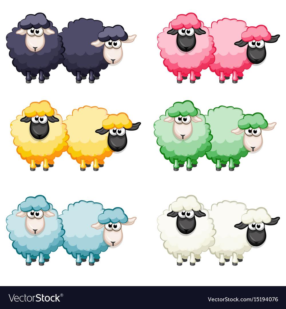 Cartoon cute funny colored sheep vector image