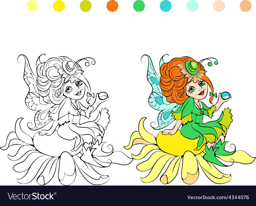 cartoon fairy coloring page royalty free vector image. Black Bedroom Furniture Sets. Home Design Ideas