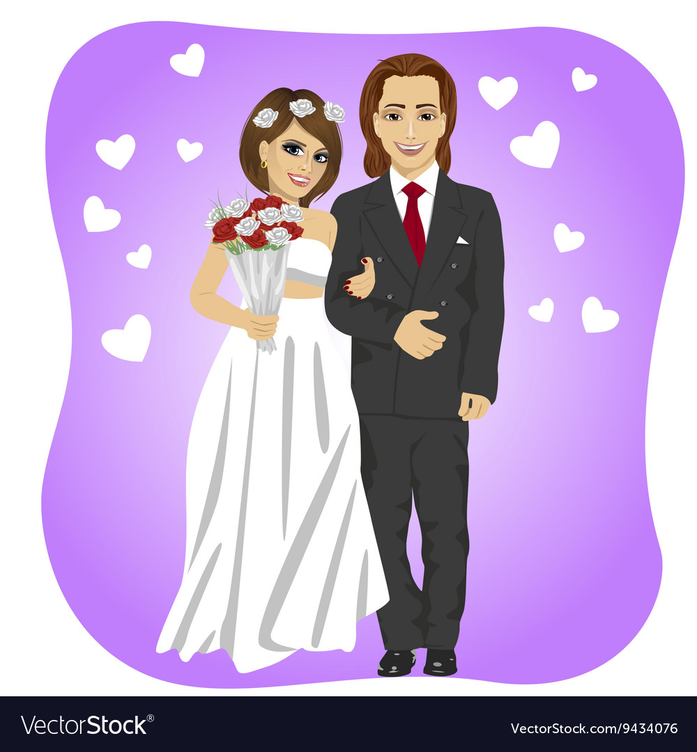 Just married couple posing with a rose bouquet vector image