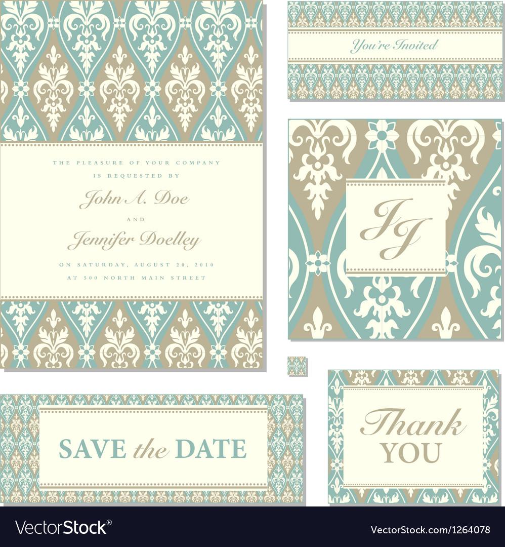Victorian wedding invitation set vector image