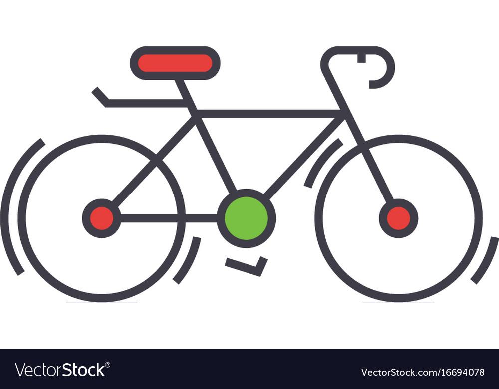 Bicycle bike race concept line icon vector image