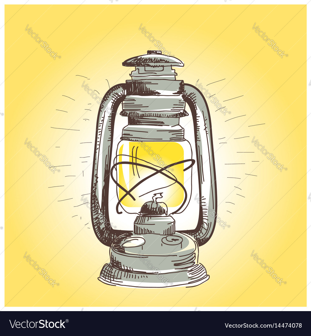 Hand draw oil lantern lamp burning Royalty Free Vector Image for Drawing Oil Lamp  75sfw
